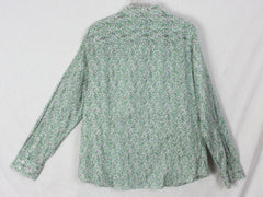 New J Crew Factory Blouse XL size Green Pink Floral Womens Career Casual Top