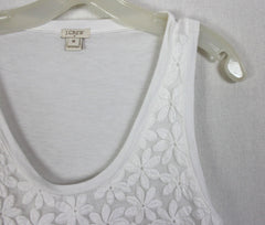 Cute J Crew M L size Blouse White Embroidered Daisey Top Work Casual
