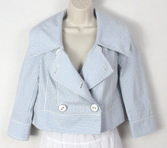 Super Cute Daughters of the liberation Jacket 2 xs size Blue White Striped Box fit Anthropologie - Jamies Closet - 1
