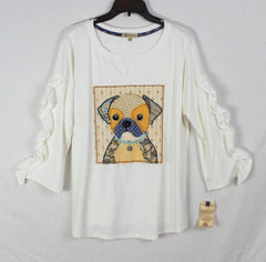 Fun New Democracy Blouse L size Dog applique Womens Tee Shirt Ruffle Sleeve