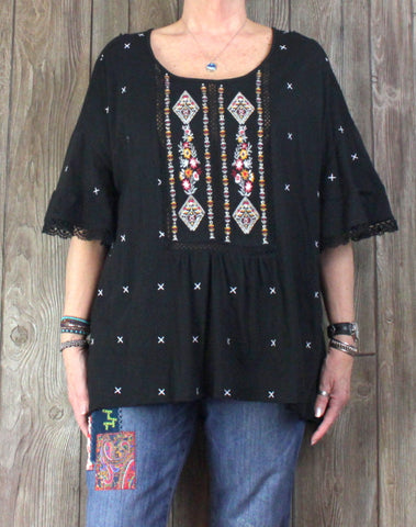 Cute Denim 24/7 Blouse 1x 22 24 sz Black Embroidered Lace Top Hippy Boho Plus