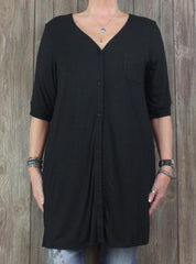 Nice New with tag DKNY Blouse 1x sz Black Stretch Tunic Top