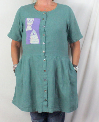 Drew Zoo Batik S M size Teal Tunic Top Mini Dress Artwear Blouse - Jamies Closet - 1