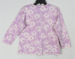 Pretty Eddie Bauer L size Cardigan Sweater Womens Purple Floral Cotton Blend.