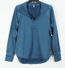 New Eddie Bauer Top L size Teal Blue 1.4 Zip Stretch Active Outdoor Womens Shirt
