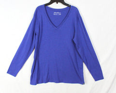 Eddie Bauer 2xl Top Blue Vneck Soft Womens Outdoor Shirt Casual Cotton