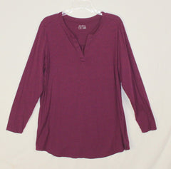 Eddie Bauer XL size Blouse Plum Purple Tee Shirt Womens Cotton Tencel