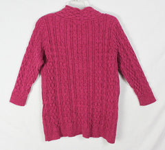 Cute Eddie Bauer L size Cable Sweater Magenta Pink Womens Thick 3.4 Sleeve Cotton