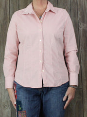 Eddie Bauer L size Blouse Pink Fine Corduroy Fitted Stretch Top Womens