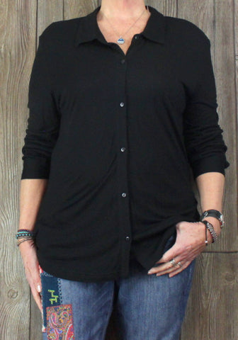 New Ellen Orton Blouse 1x size Black Stretch Rayon
