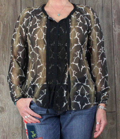Ellie Tahari for Nordstrom L size Sheer Blouse Brown Black Snap Lace Career Casual
