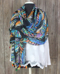 Pretty Art To Wear Multi Color Feathers Pink Blue Black Tassled Scarf Wrap