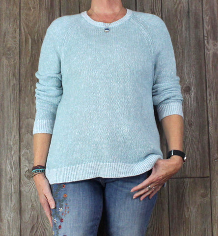 Eileen Fisher Sweater L Size Blue Organic Linen Cotton