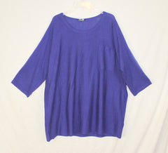 New Eileen Fisher Fine Merino Jersey Blouse 3x size Blue Lightweight