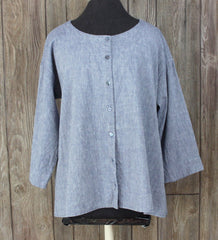 Nice Eileen Fisher M size Blouse Blue Linen Organic Cotton Aline Top