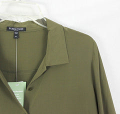New Eileen Fisher Silk Crepe Blouse Olive Green L Petite