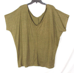 Eileen Fisher XL size Olive Green Linen Top Womens Vneck