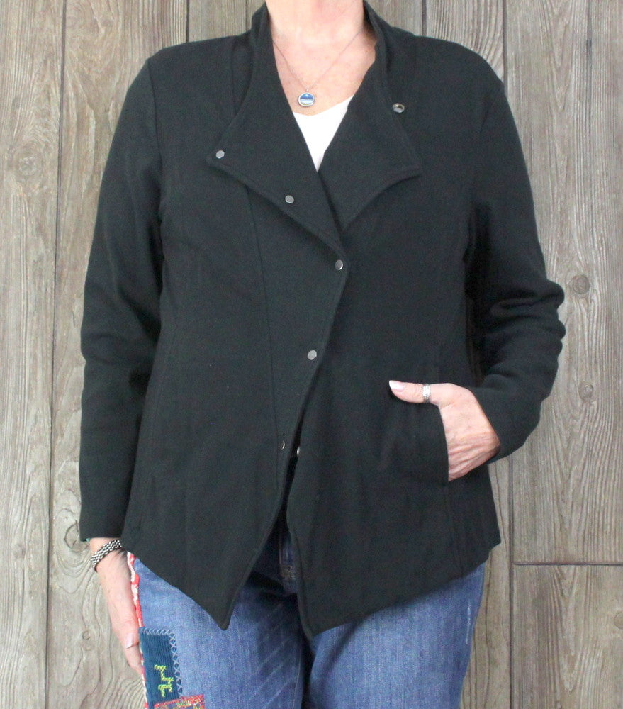 Eileen Fisher Jacket XL size Stretch Snap Front Womens Organic Cotton Pockets