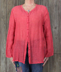 Pretty Eileen Fisher Blouse XL size Pink Orange Lightweight Linen Top