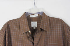 Nice Mens Forsyth M size Shirt Brown Blue White Pinstripe Check Combed Cotton - Jamies Closet - 2