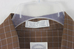Nice Mens Forsyth M size Shirt Brown Blue White Pinstripe Check Combed Cotton - Jamies Closet - 3
