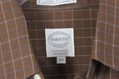 Nice Mens Forsyth M size Shirt Brown Blue White Pinstripe Check Combed Cotton - Jamies Closet - 4