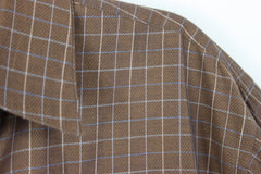 Nice Mens Forsyth M size Shirt Brown Blue White Pinstripe Check Combed Cotton - Jamies Closet - 5