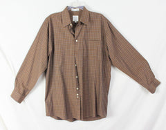 Nice Mens Forsyth M size Shirt Brown Blue White Pinstripe Check Combed Cotton - Jamies Closet - 1