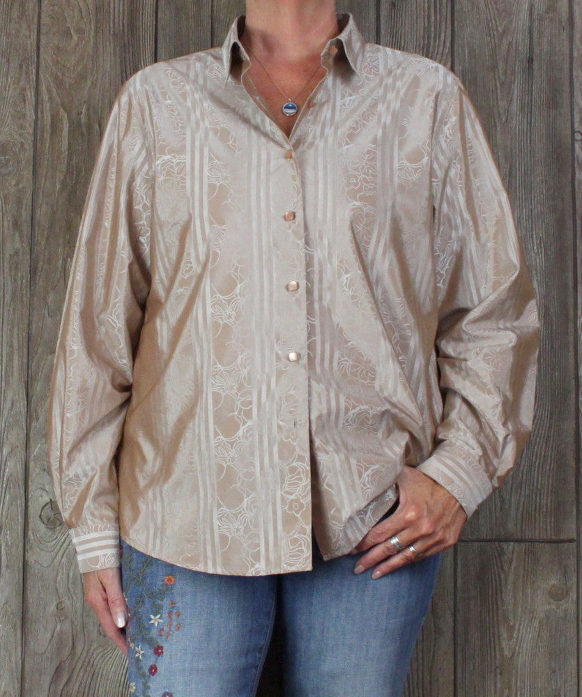 Pretty Foxcroft Blouse 16 XL size Bronze Light Copper Sheen