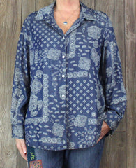 Foxcroft Blouse 16w size Denim Blue Floral Womens Work Casual Tencel