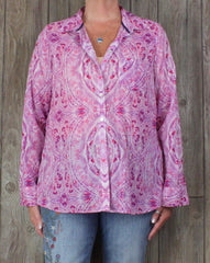 Nice Foxcroft Blouse 16 XL size Pink Blue Paisley Womens Top