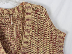 Cute Free People Sweater L size Red Wheat Boho Hippy Cotton Blend Tie Front - Jamies Closet - 5