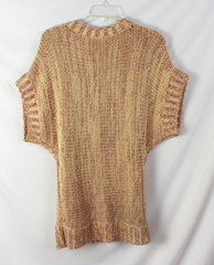 Cute Free People Sweater L size Red Wheat Boho Hippy Cotton Blend Tie Front - Jamies Closet - 8