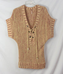 Cute Free People Sweater L size Red Wheat Boho Hippy Cotton Blend Tie Front - Jamies Closet - 4
