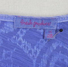 Cute Fresh Produce L size Top Sunwashed Blue Floral