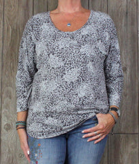 Cute Fresh Produce Gray Floral Top L size Womens Cotton Modal Dolman Sleeve