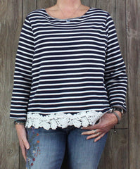 Cute Gap XL size Blouse Navy Blue White Stripe Casual Womens Lace Trim