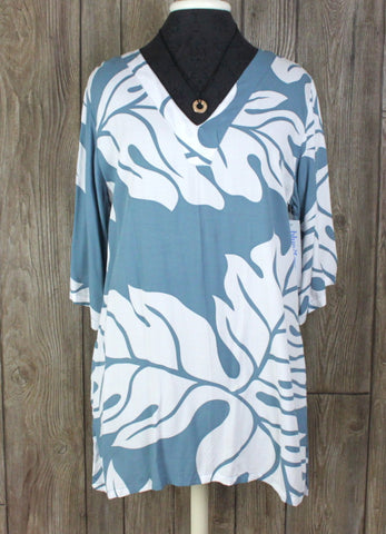 New Blue Ginger Blouse S size Blue White Tunic Top Cute For Vacation