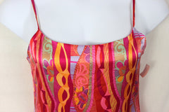 Girlfriend dress L M size New Silk Slip Style Lined Spaghetti Strap Multi Color - Jamies Closet - 2