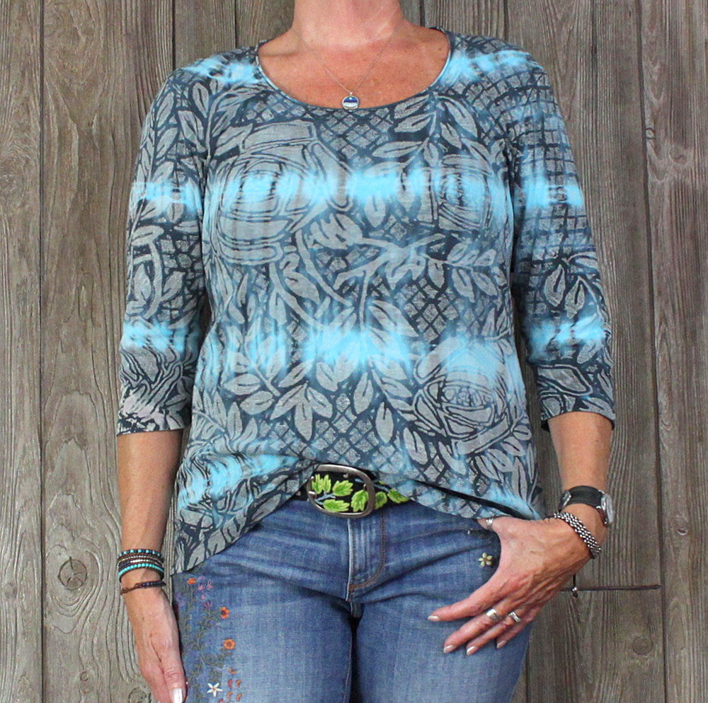 Glima XL Blouse Blue Tye Dye Cotton Top Womens