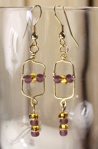 Cute New Hand crafted in the USA Gold Color Metal Purple Amber Glass Seed Bead Earrings - Jamies Closet - 1