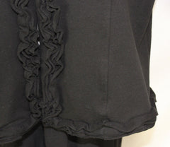 Super Cute Good Fortune Black Jacket M L size Cotton Blend Ruffled Box fit 3.4 Sleeve - Jamies Closet - 6