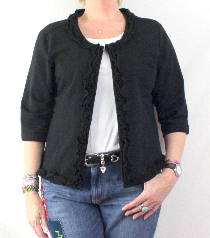 Super Cute Good Fortune Black Jacket M L size Cotton Blend Ruffled Box fit 3.4 Sleeve - Jamies Closet - 1