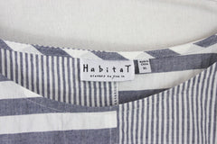 Cute Habitat Blouse XL size Blue Gray White Top Womens Art to Wear