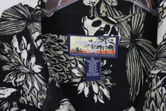Nice Havana Jacks Hawaiian Shirt XL size Mens Black Tan Pineapple Aloha Rayon Casual