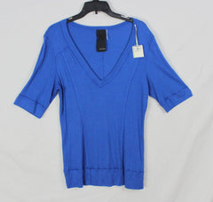 Cute Heather Blouse L XL size Blue Stretch Vneck