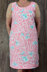 Cute Hilo Hattie Dress L size Pink Blue White Floral Tank Vacation Hawaii Lightweight