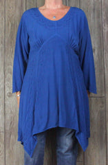 Holy Clothing 2x size Tunic Top Blue Embroidered