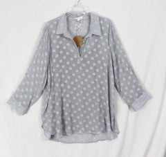 New Honey Punch Gray Blouse Cami Set 1x sz Womens Plus Top 2pc Lightweight Plus