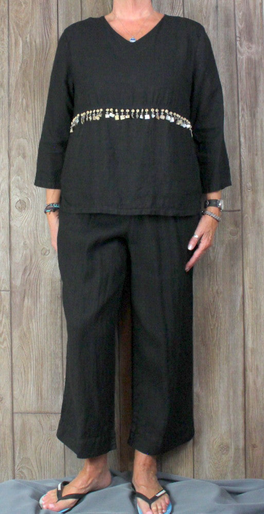 Cute Hot Cotton Marc Ware Black Capris Top M size 2pc Set Womens Casual Linen Outfit